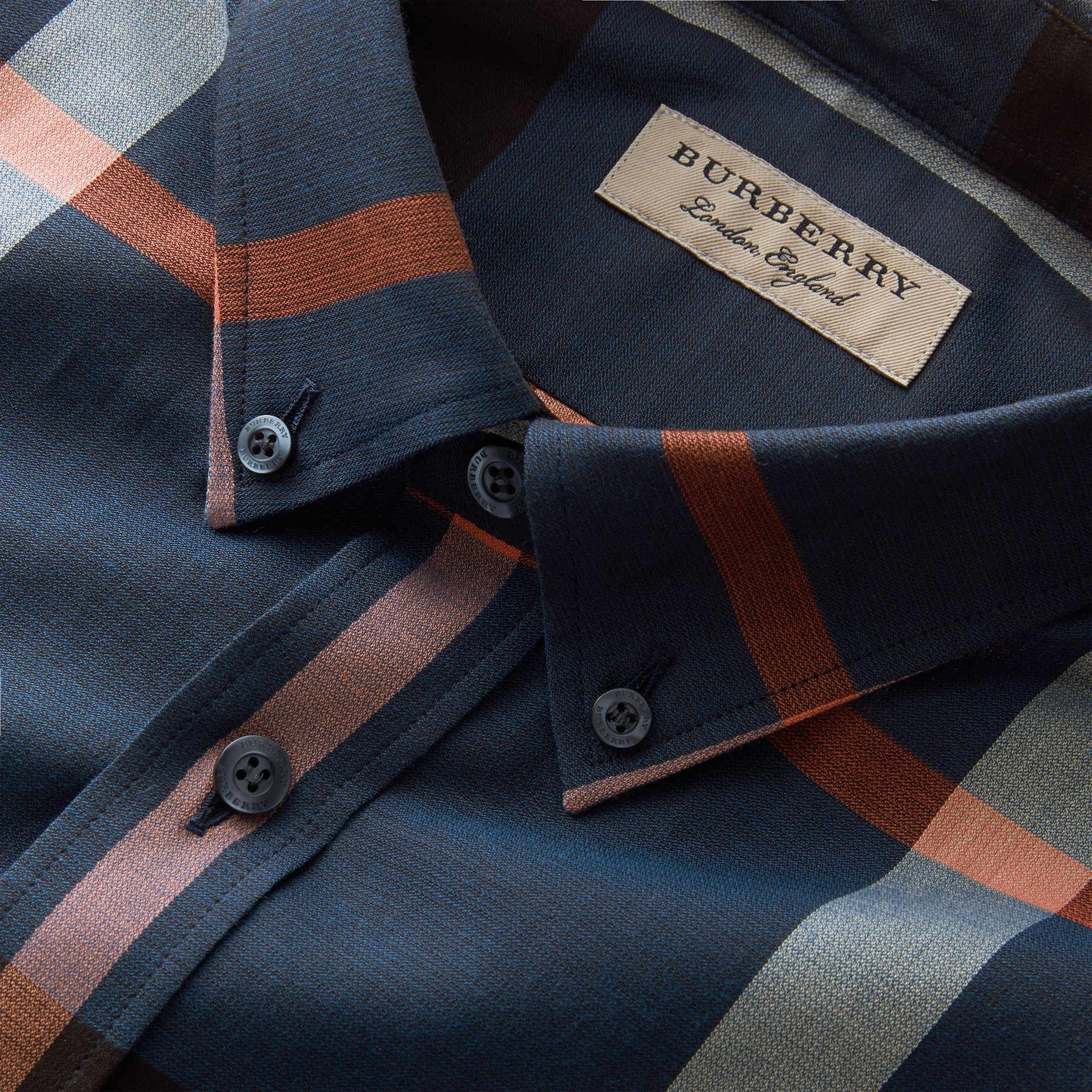 Button-down Collar Check Cotton Poplin Shirt in Ink Blue - Men | Burberry - gallery image 2