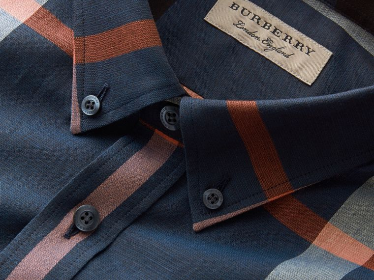 Button-down Collar Check Cotton Poplin Shirt in Ink Blue - Men | Burberry - cell image 1
