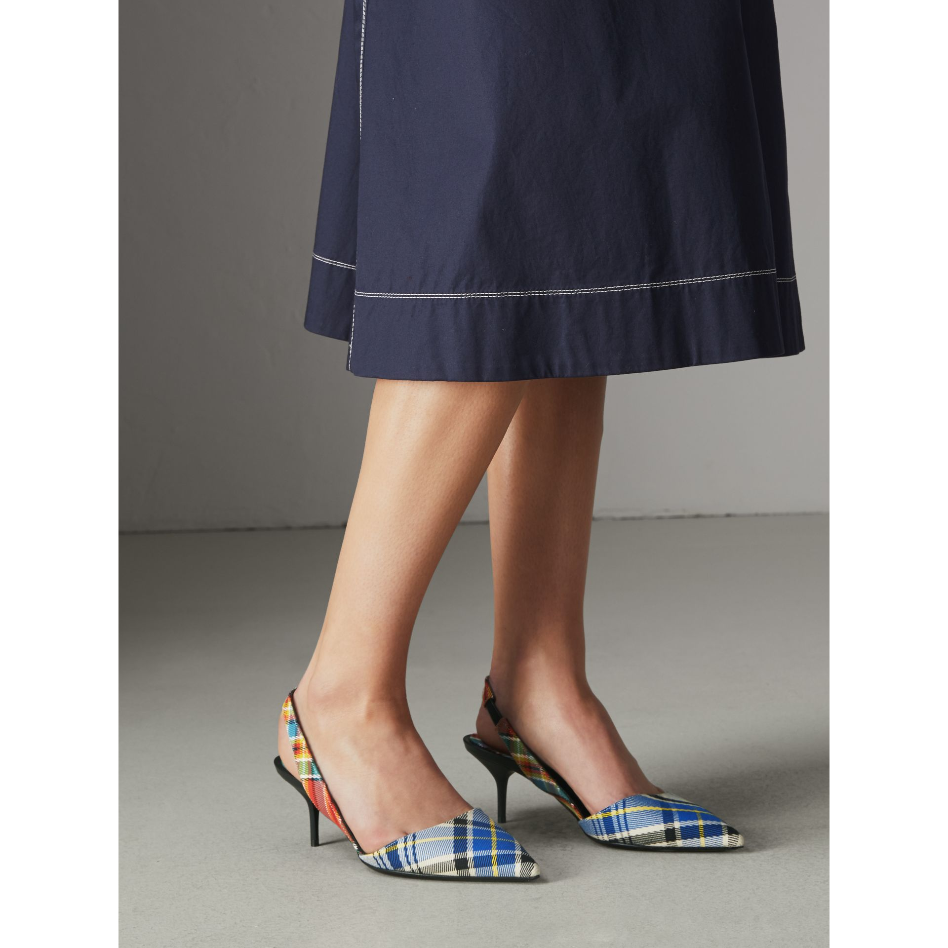 Tartan Cotton Slingback Pumps in Poppy Orange - Women | Burberry Singapore - gallery image 2