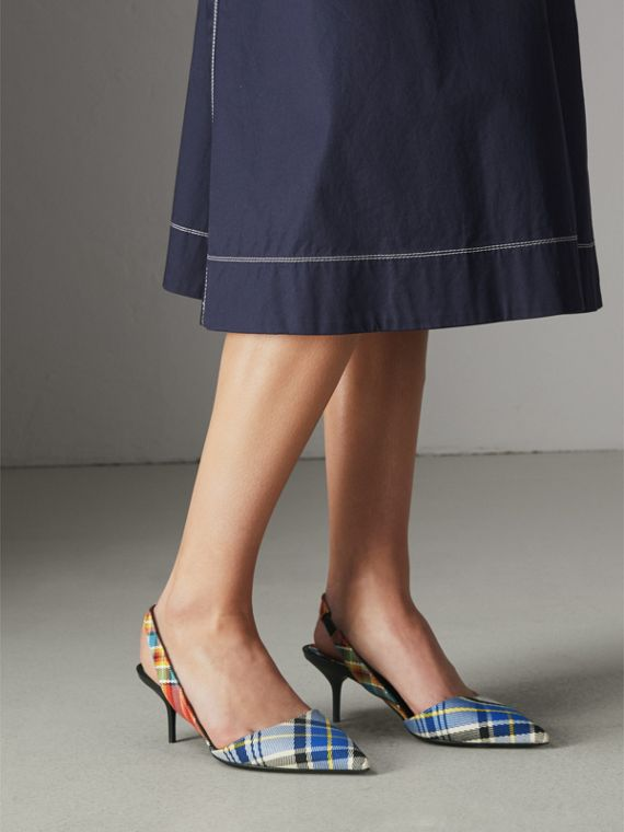 Tartan Cotton Slingback Pumps in Poppy Orange - Women | Burberry - cell image 2