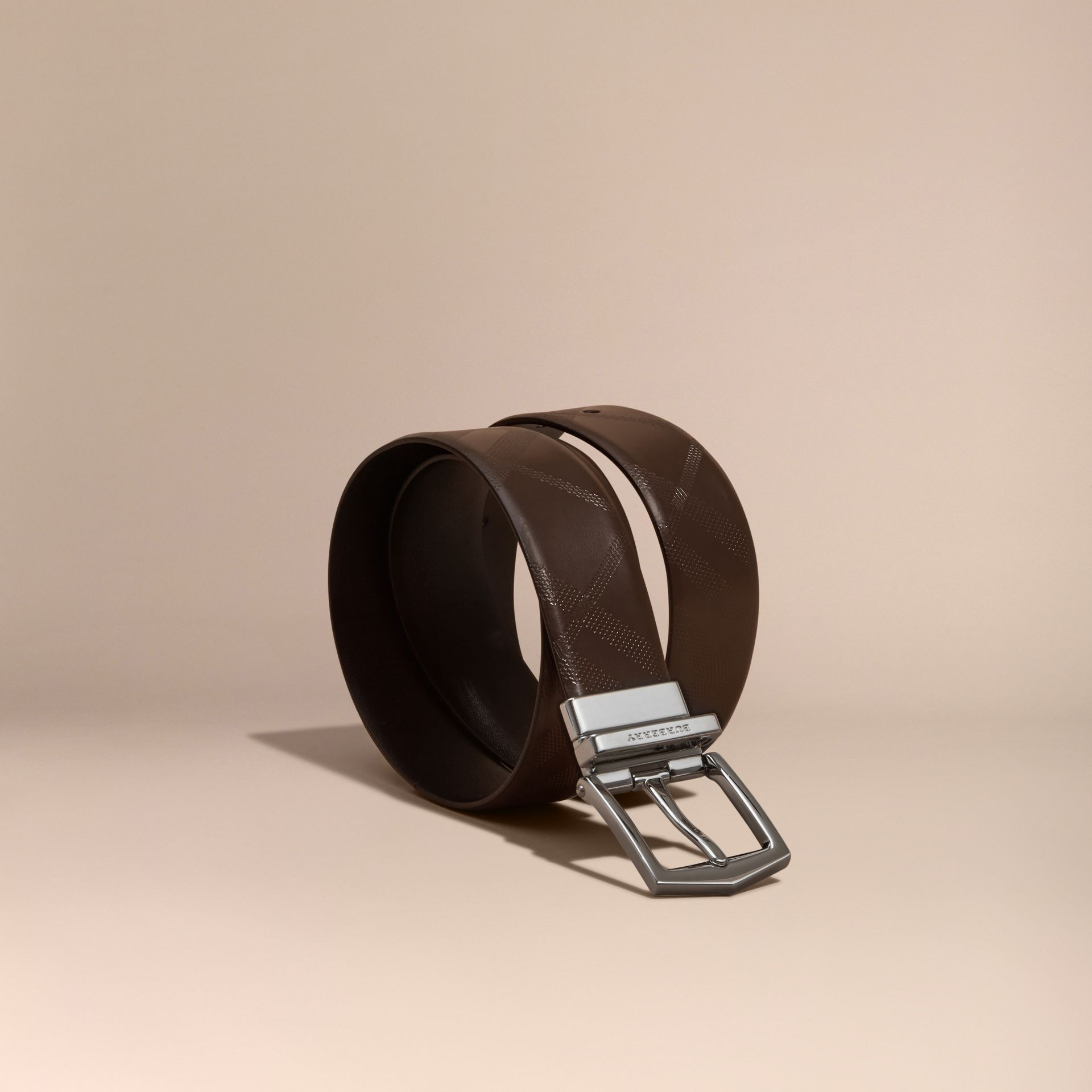 Reversible Leather Belt in Bitter Chocolate/black - Men | Burberry - gallery image 1
