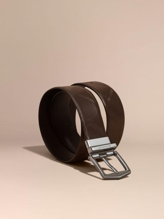 Reversible Leather Belt in Bitter Chocolate/black