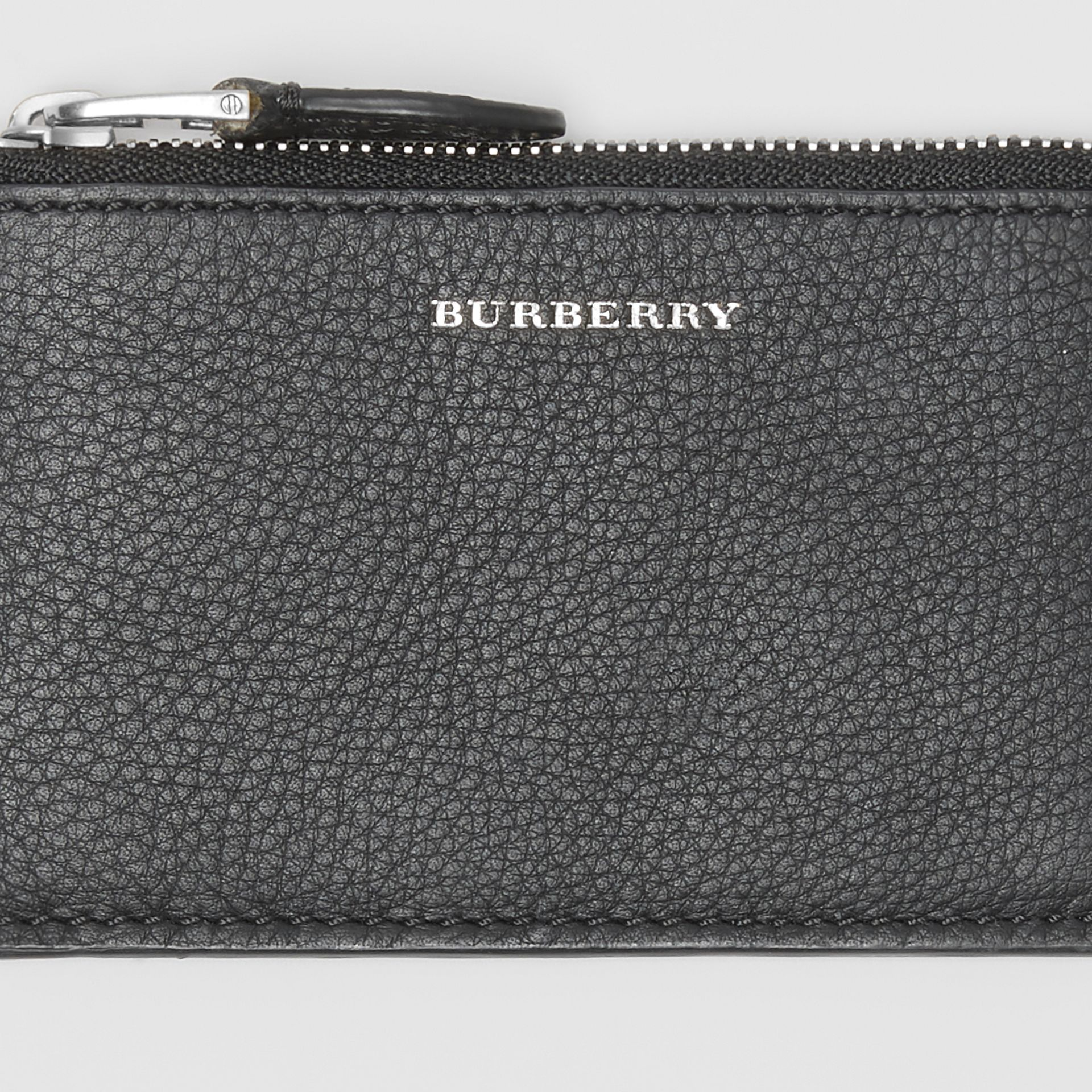 Two-tone Leather Zip Card Case in Black | Burberry Hong Kong S.A.R - gallery image 1
