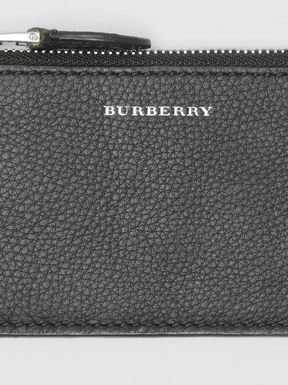 Two-tone Leather Zip Card Case in Black | Burberry - cell image 1