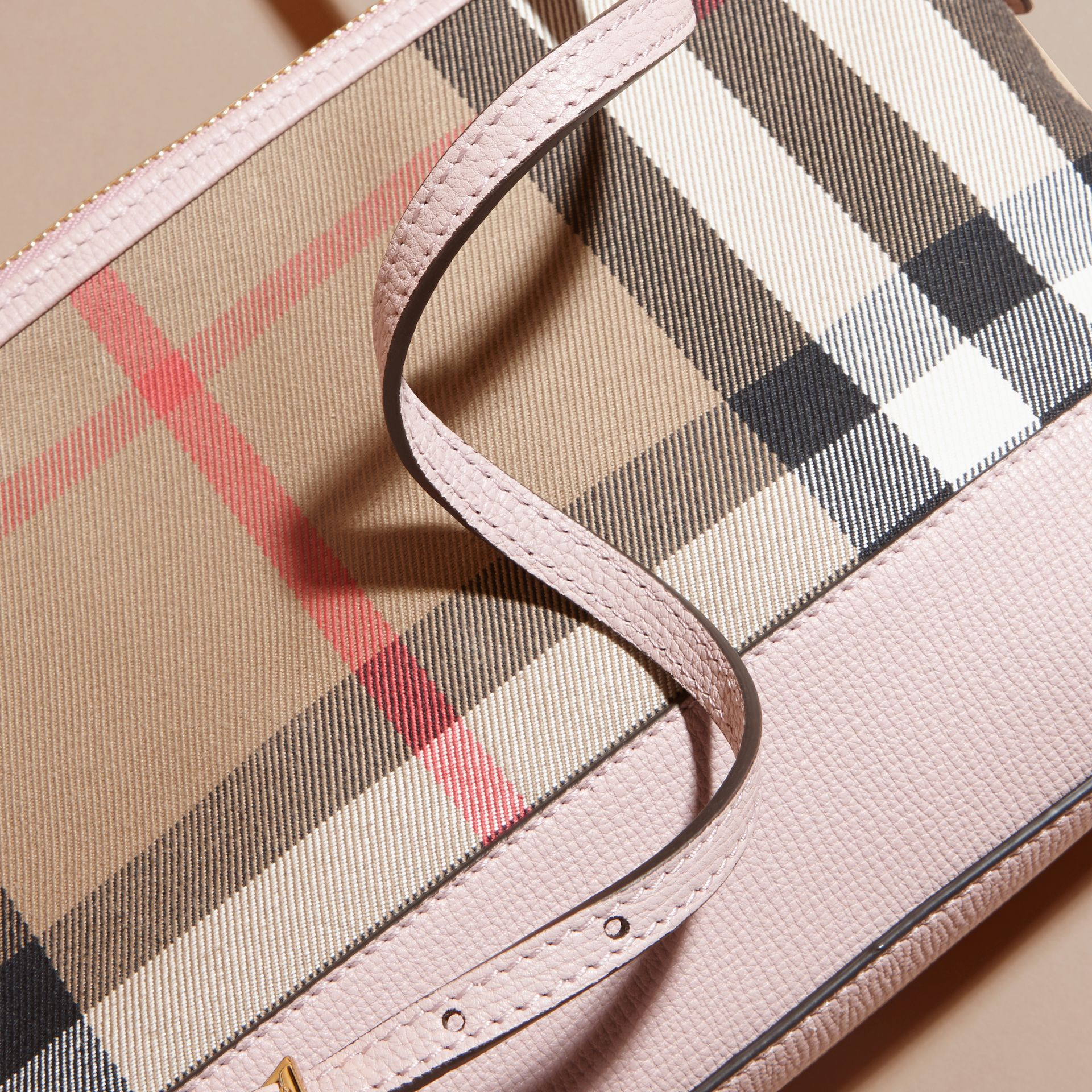 House Check and Leather Clutch Bag in Pale Orchid - Women | Burberry United Kingdom - gallery image 2