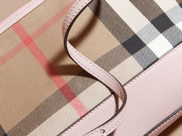 House Check and Leather Clutch Bag in Pale Orchid - Women | Burberry Australia - cell image 1