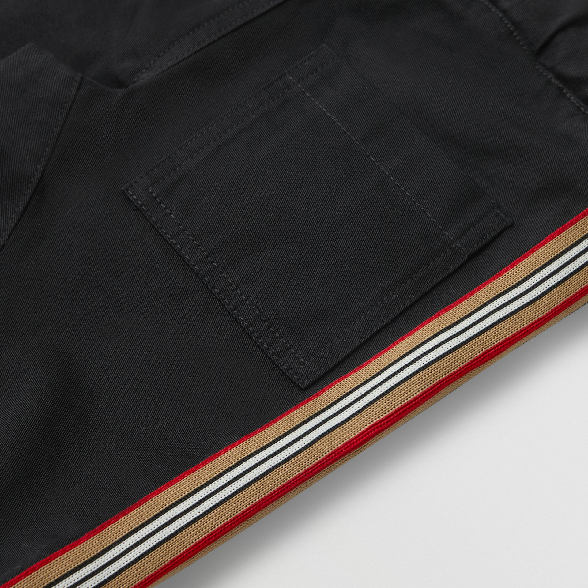 Icon Stripe Detail Cotton Chinos in Black - Children | Burberry - gallery image 1