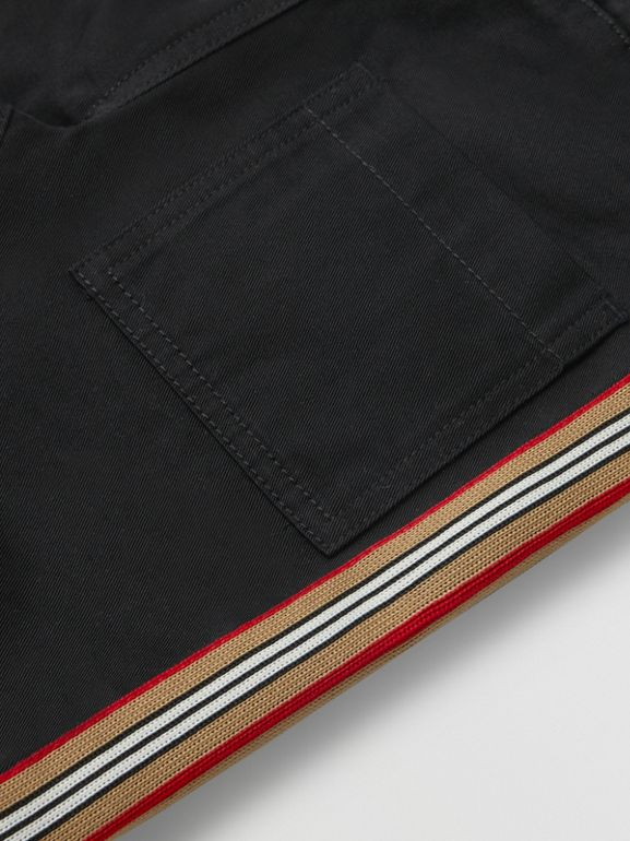 Icon Stripe Detail Cotton Chinos in Black - Children | Burberry - cell image 1