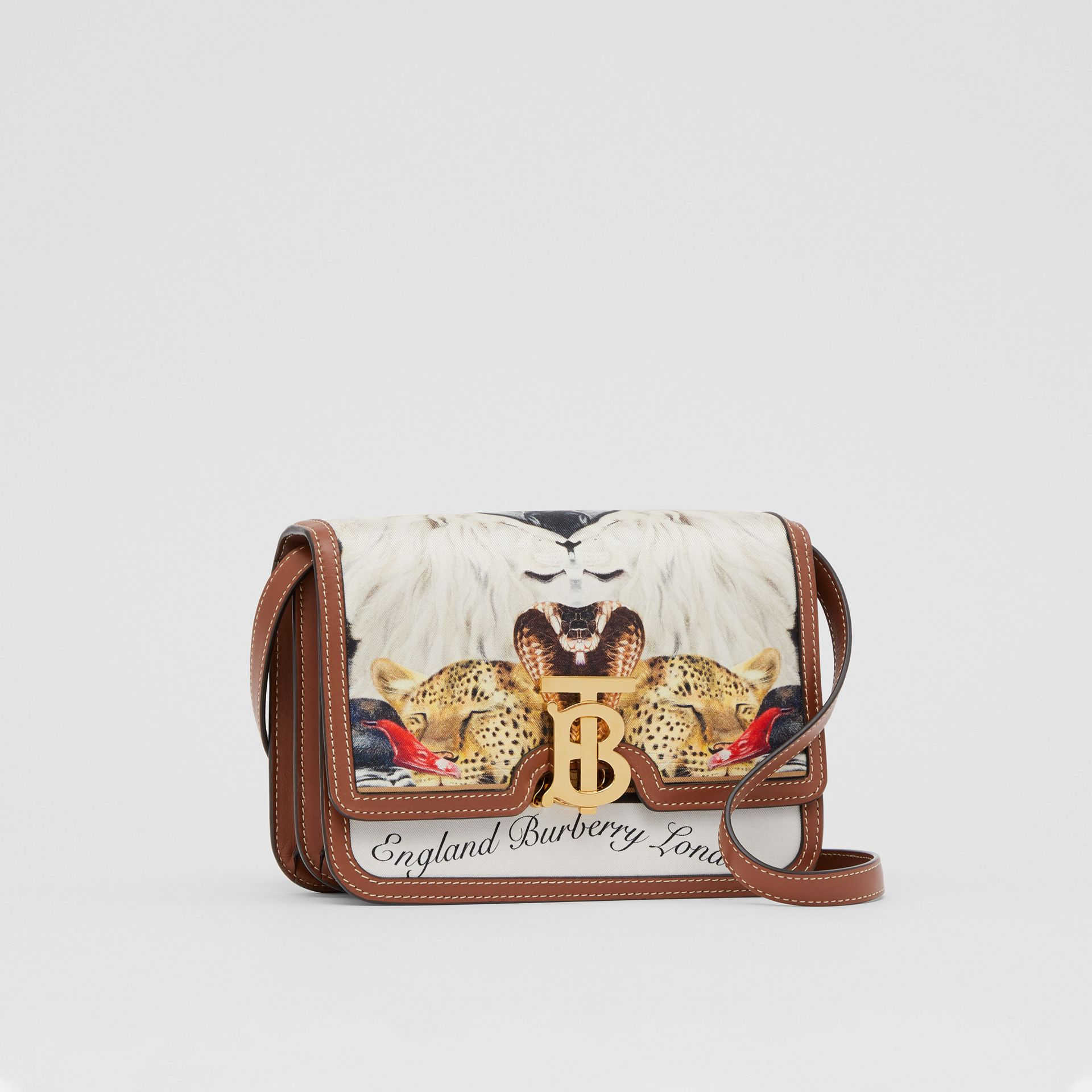 Small Animalia Print Silk and Leather TB Bag in Tan - Women | Burberry Australia - gallery image 6