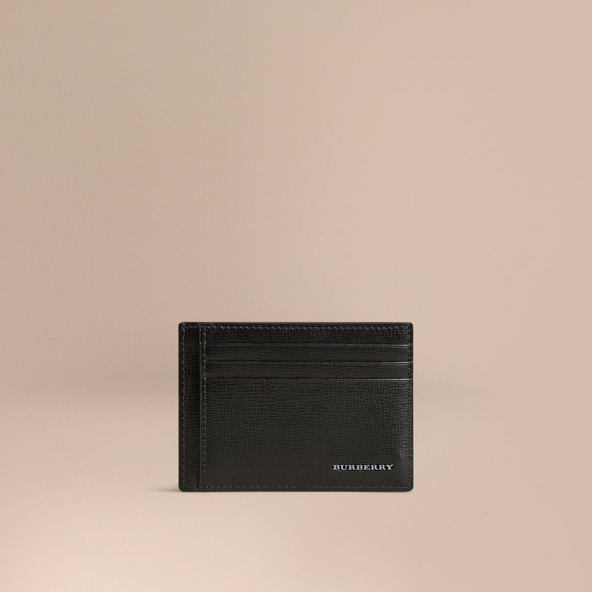 London Leather Money Clip Card Case in Black - Men | Burberry Canada - gallery image 1
