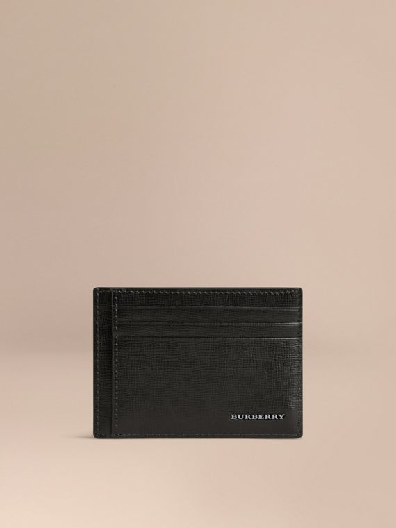 London Leather Money Clip Card Case Black