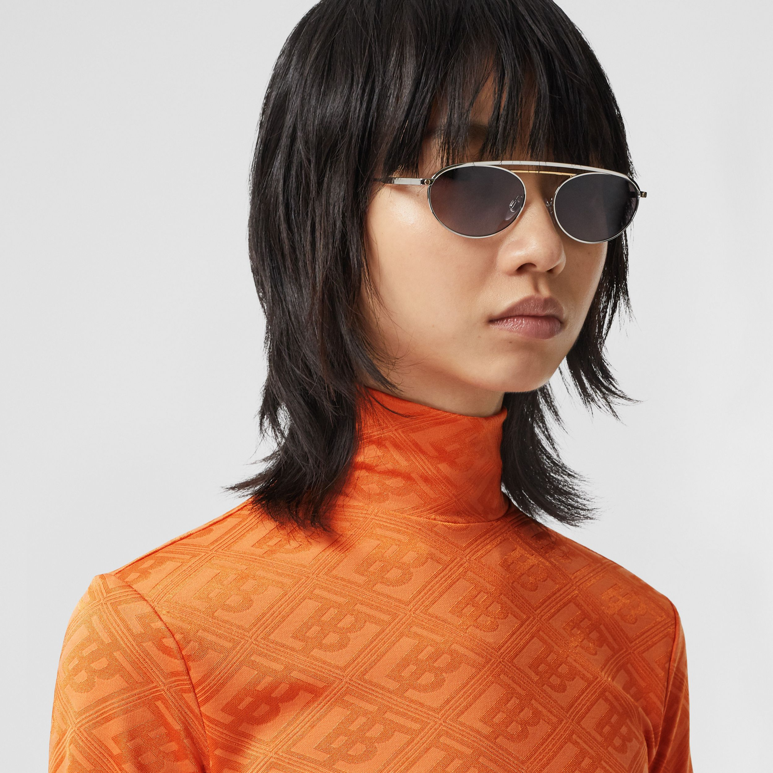 Logo Graphic Jersey Turtleneck Top in Bright Orange - Women | Burberry - 2