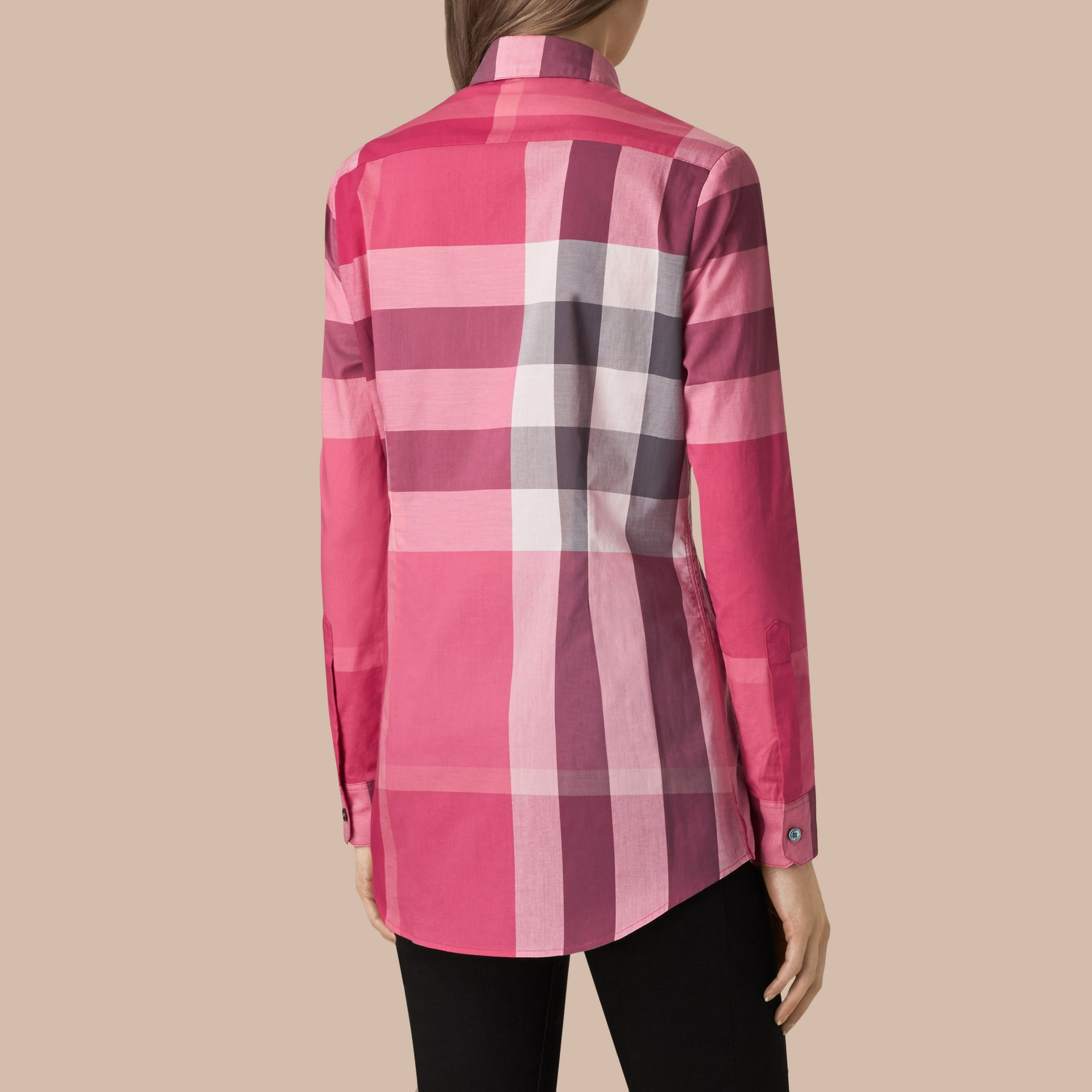 Crimson pink Check Cotton Shirt Crimson Pink - gallery image 3