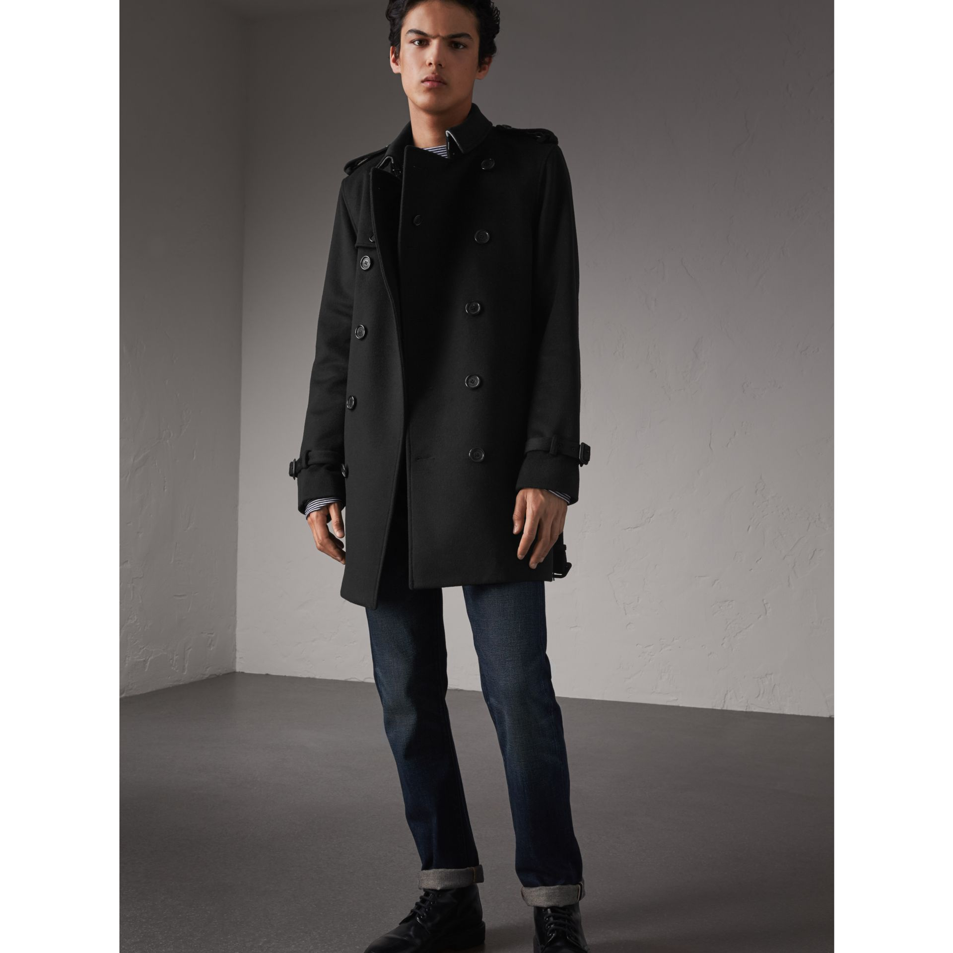 Trench-coat en laine et cachemire (Noir) - Homme | Burberry - photo de la galerie 1