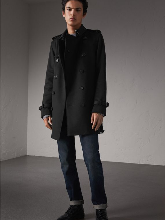 Trench coat in lana e cashmere (Nero) - Uomo | Burberry