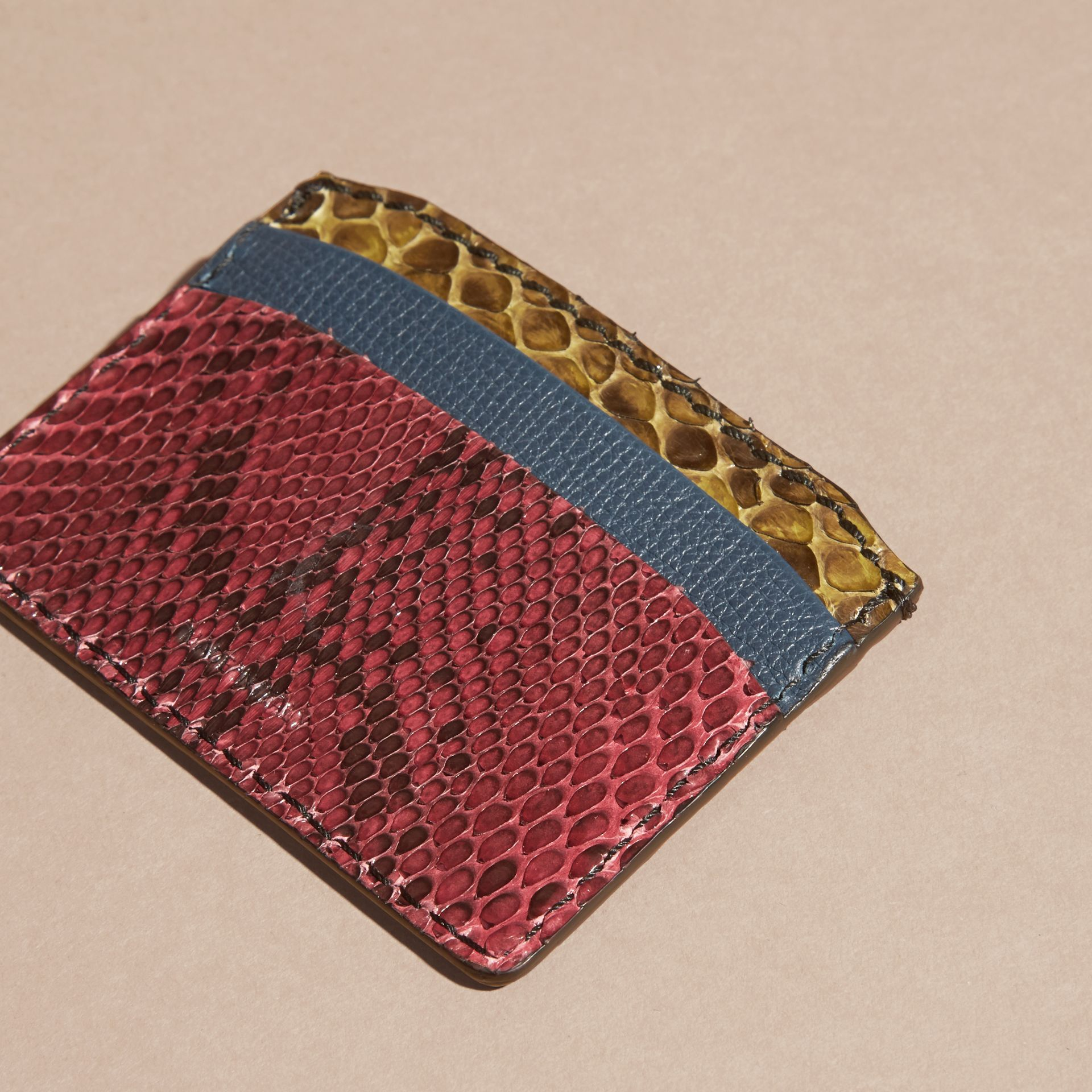Colour Block Snakeskin and Leather Card Case in Peacock Blue - gallery image 4