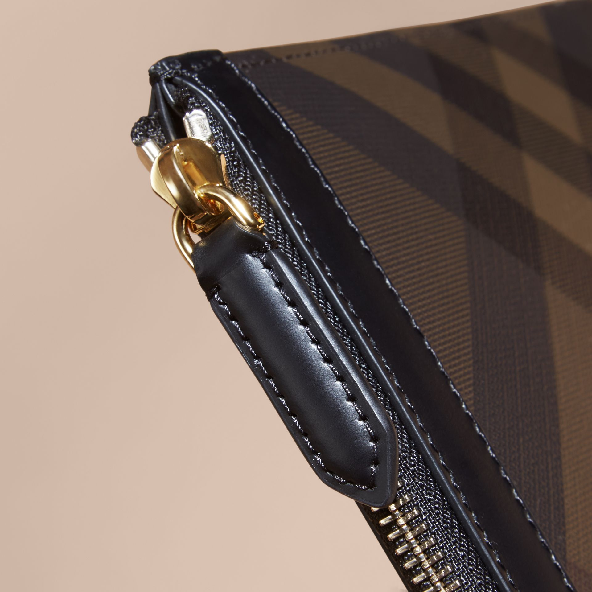 Zipped London Check Pouch in Chocolate/black - Men | Burberry - gallery image 5
