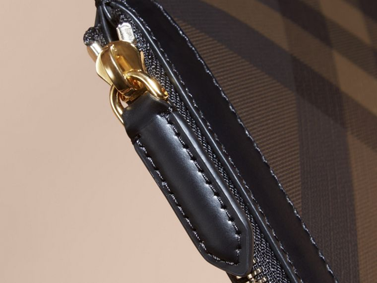 Zipped London Check Pouch in Chocolate/black - Men | Burberry - cell image 4