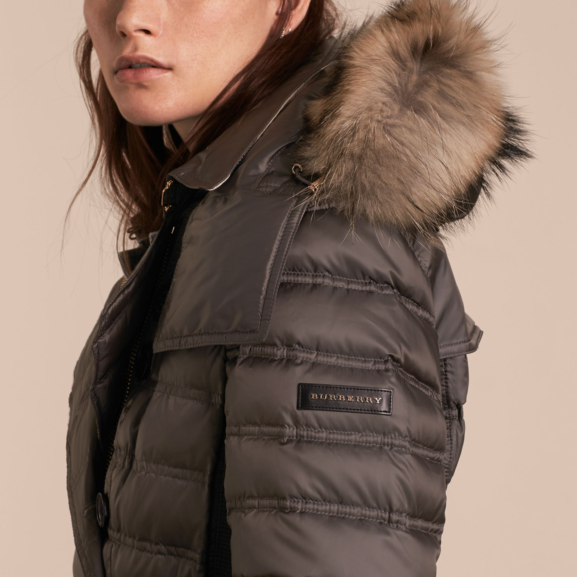 Mid grey Down-Filled Puffer Coat with Fur Trim Mid Grey - gallery image 5
