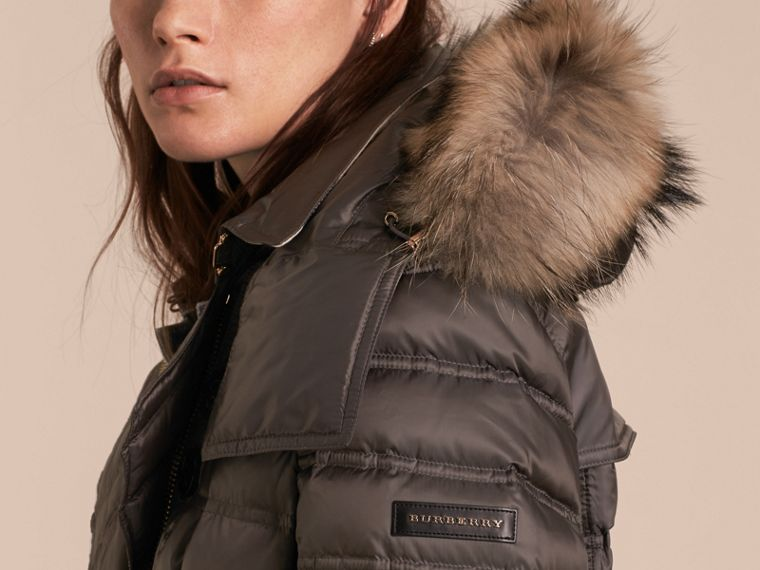Mid grey Down-Filled Puffer Coat with Fur Trim Mid Grey - cell image 4