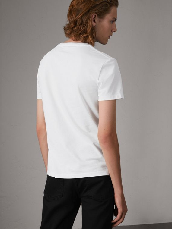 Cotton V-neck T-shirt in Optic White - Men | Burberry - cell image 2