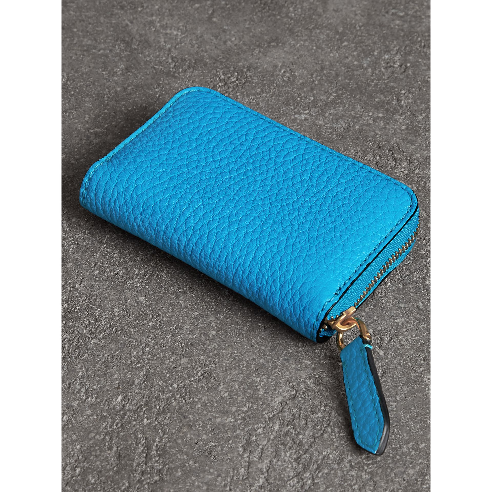 Embossed Leather Ziparound Coin Case in Neon Blue - Men | Burberry - gallery image 2