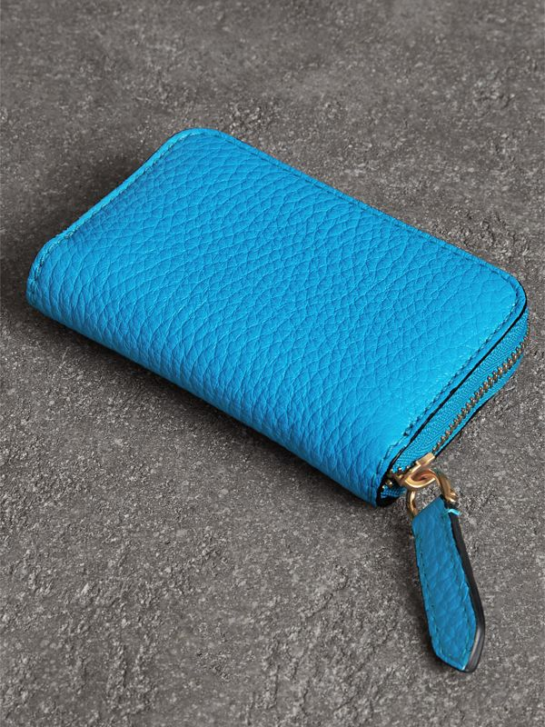 Embossed Leather Ziparound Coin Case in Neon Blue - Men | Burberry - cell image 2