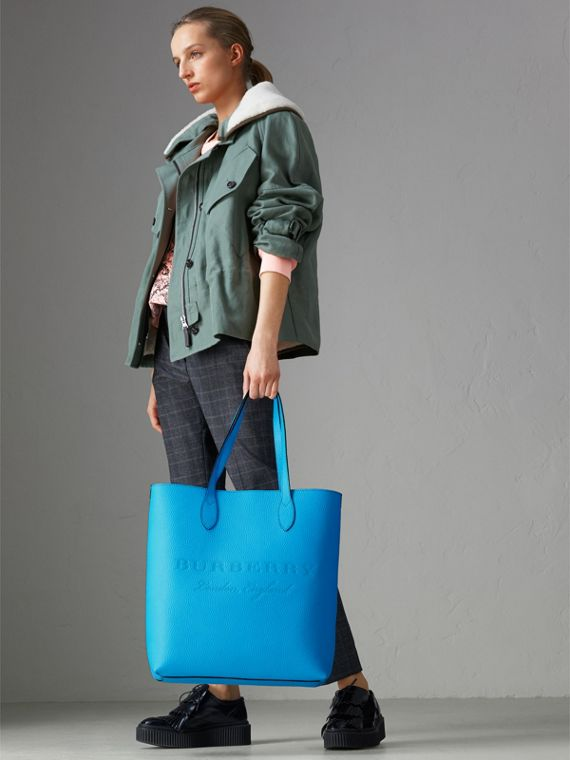 Embossed Leather Tote in Neon Blue | Burberry Singapore - cell image 2