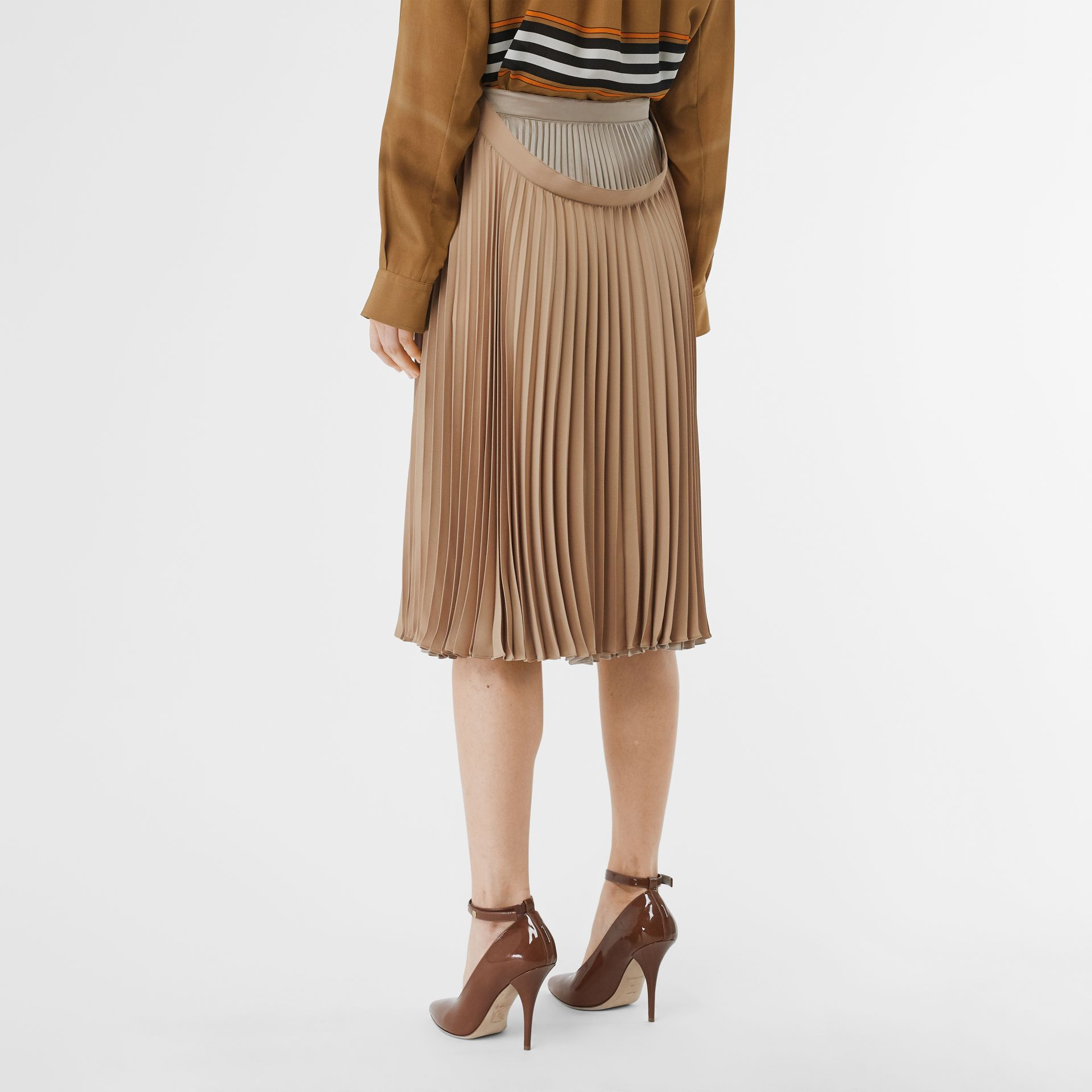 Pleated Double-waist Skirt in Sandbank - Women | Burberry Australia - gallery image 2