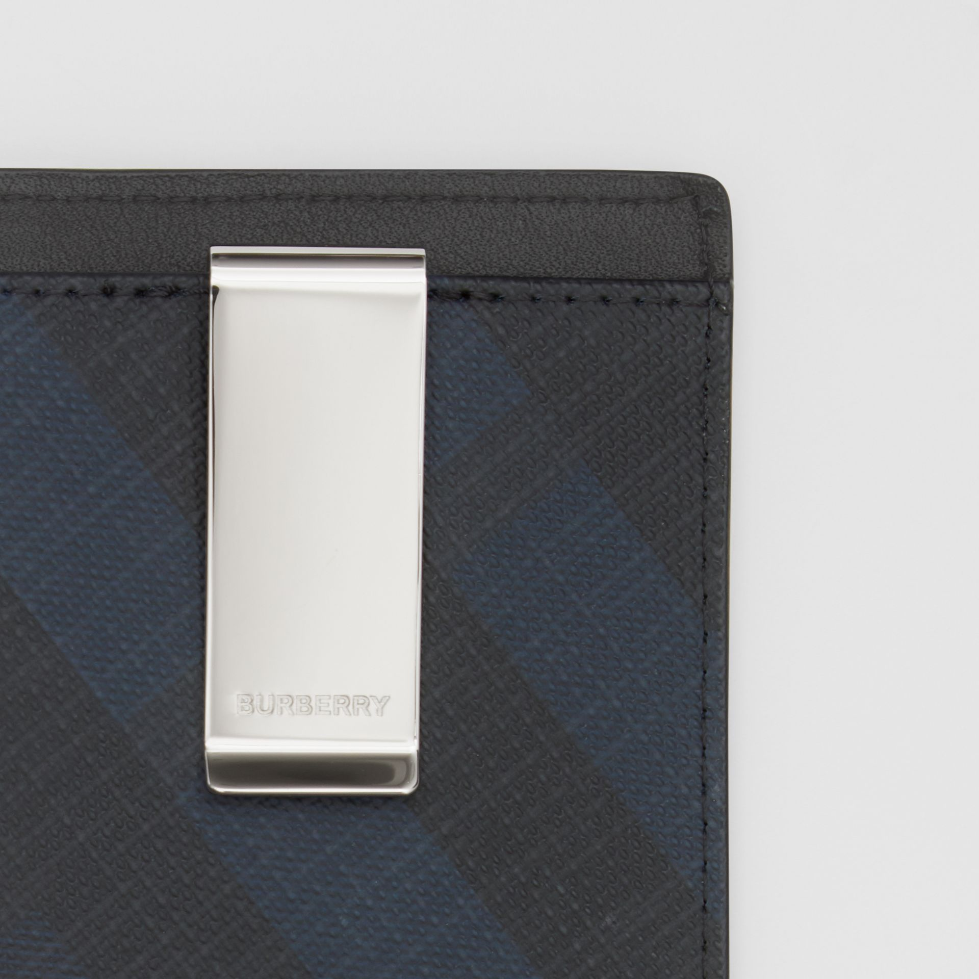 London Check and Leather Money Clip Card Case in Navy - Men | Burberry - gallery image 1
