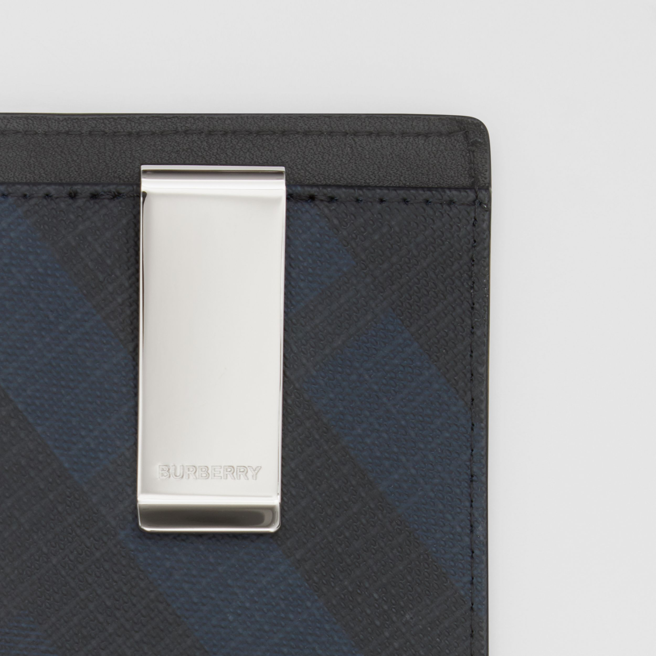 London Check and Leather Money Clip Card Case in Navy - Men | Burberry - 2
