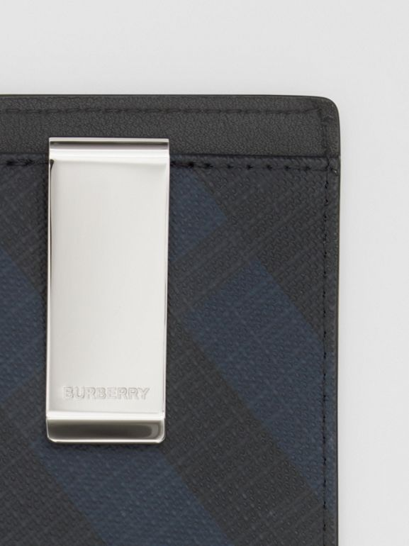 London Check and Leather Money Clip Card Case in Navy - Men | Burberry - cell image 1
