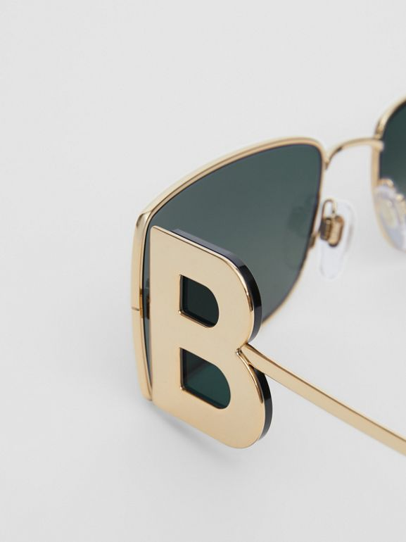 'B' Lens Detail Rectangular Frame Sunglasses in Tortoiseshell | Burberry - cell image 1