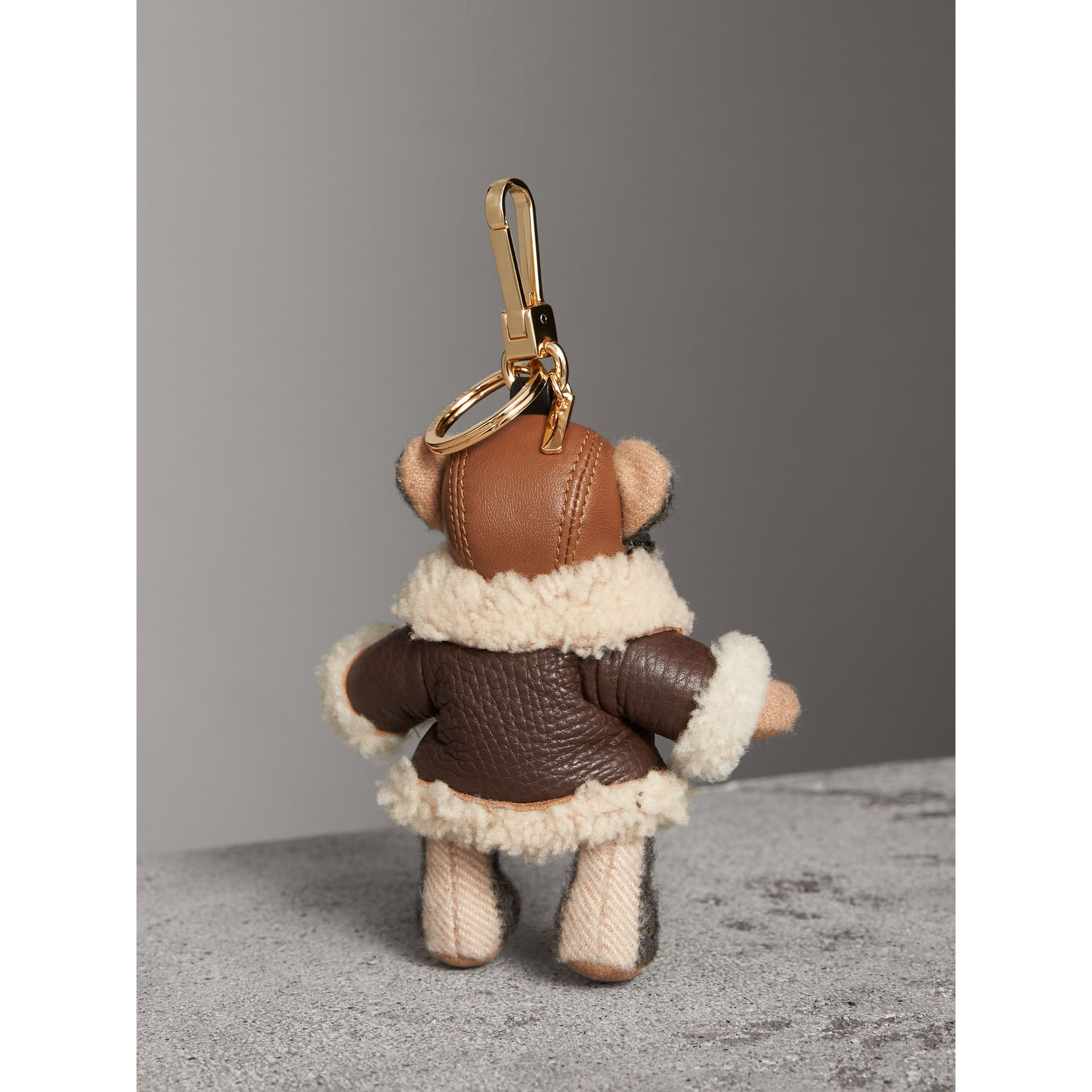 Thomas Bear Charm in Shearling Aviator Jacket in Camel - Women | Burberry Canada - gallery image 4