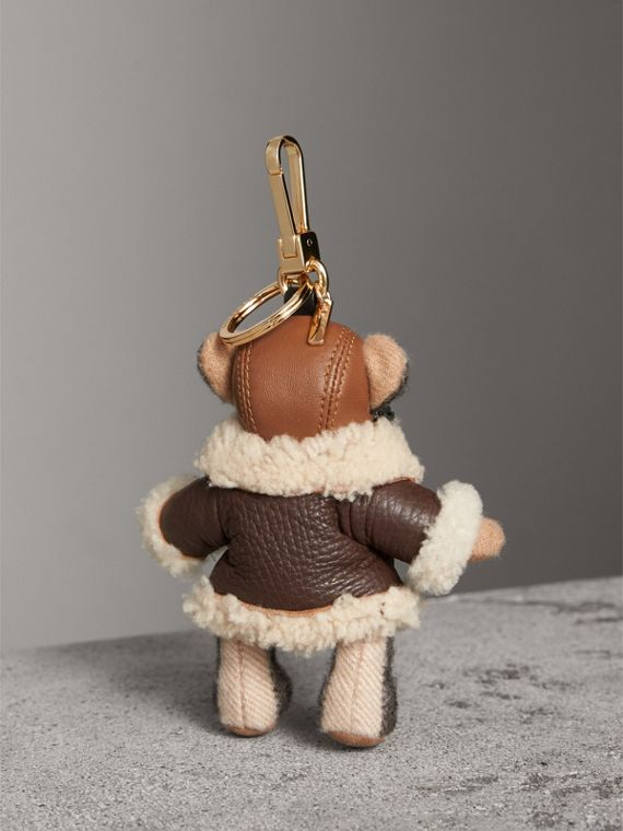 Thomas Bear Charm in Shearling Aviator Jacket in Camel - Women | Burberry Canada - cell image 3