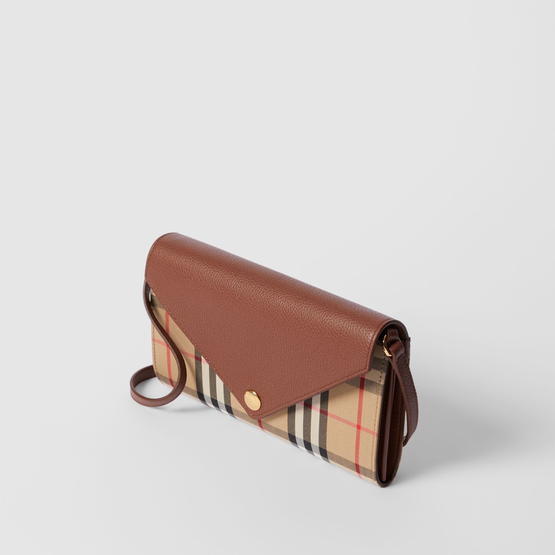 Vintage Check and Leather Wallet with Detachable Strap in Tan - Women | Burberry - gallery image 3