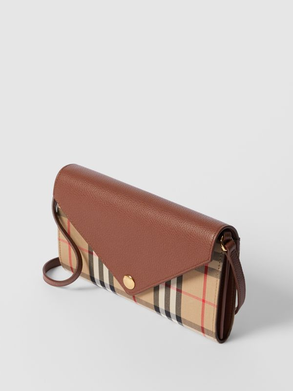 Vintage Check and Leather Wallet with Detachable Strap in Tan - Women | Burberry - cell image 3