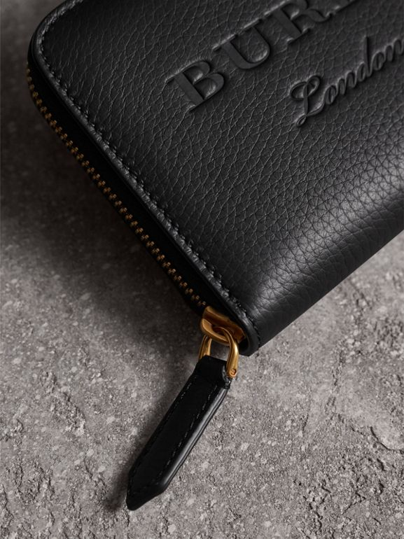 Embossed Leather Ziparound Wallet in Black | Burberry United States - cell image 1