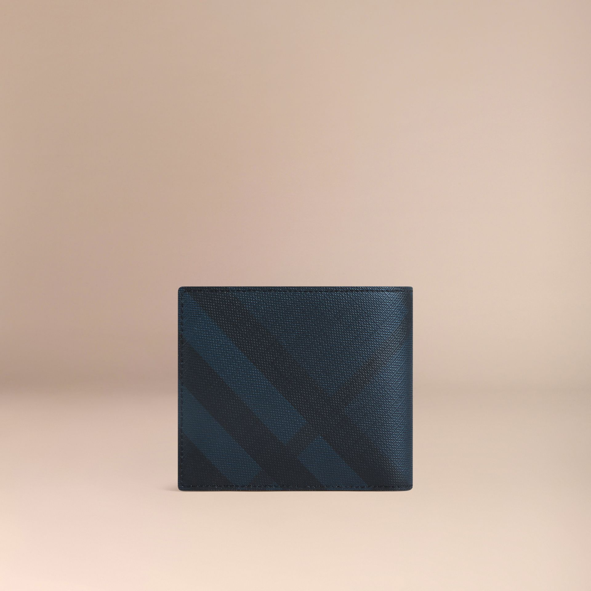 London Check Folding Wallet Navy/black - gallery image 3