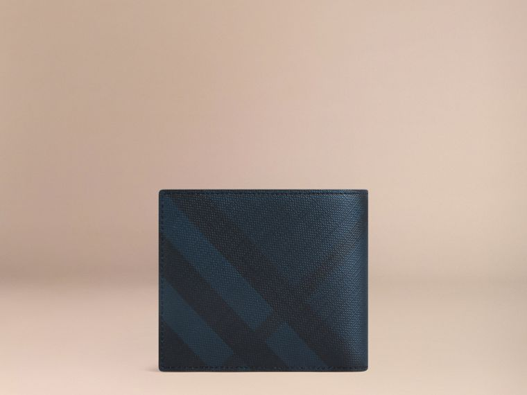 London Check International Bifold Coin Wallet in Navy/black - Men | Burberry Hong Kong - cell image 2