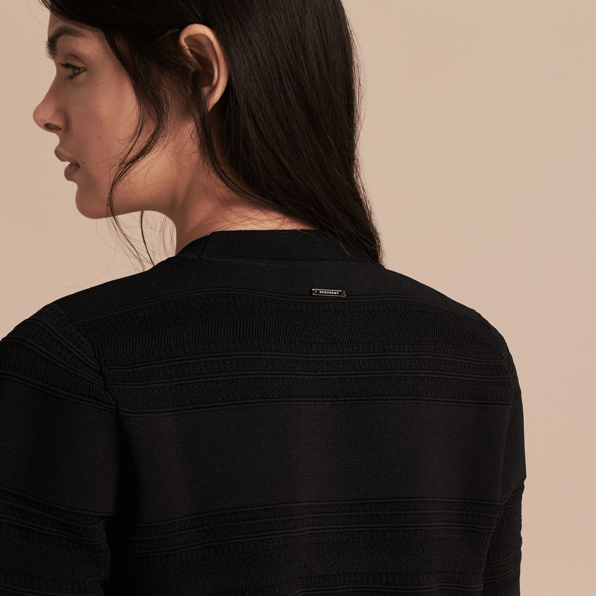 Black Short-sleeved Stitched Top - gallery image 5