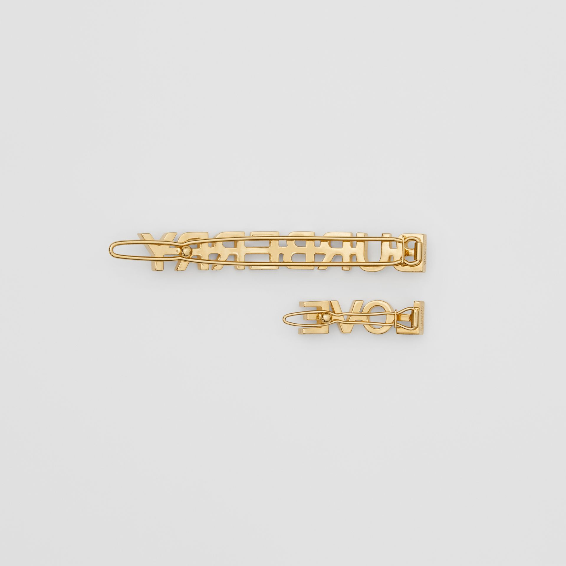 Gold-plated Logo and Love Hair Clips in Light - Women | Burberry United Kingdom - gallery image 3