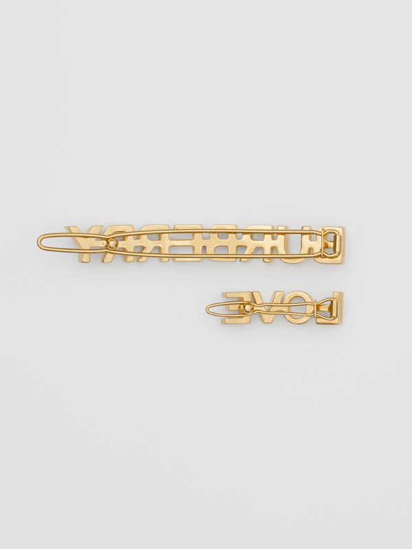 Gold-plated Logo and Love Hair Clips in Light - Women | Burberry United Kingdom - cell image 3