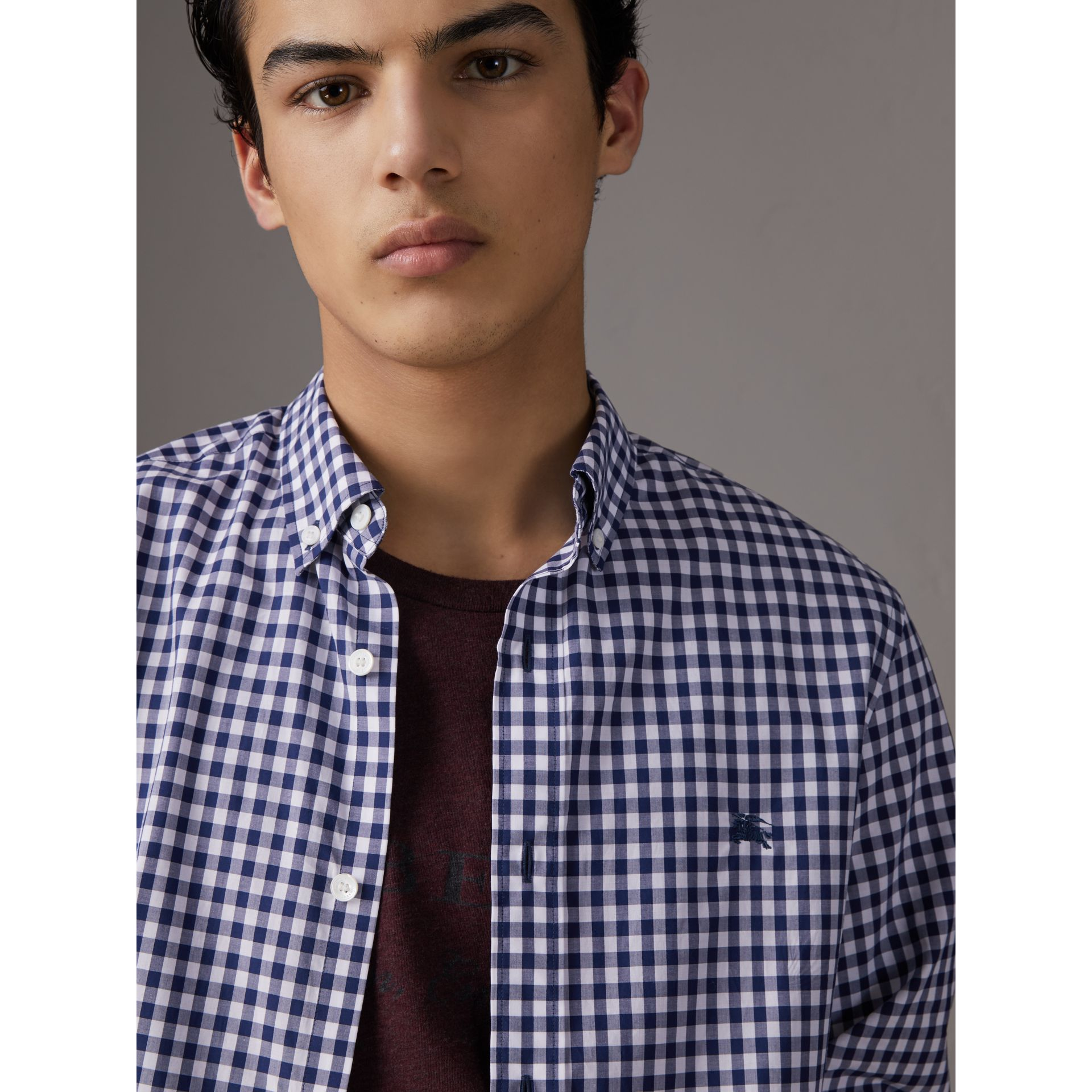 Button-down Collar Gingham Cotton Shirt in Navy - Men | Burberry - gallery image 1