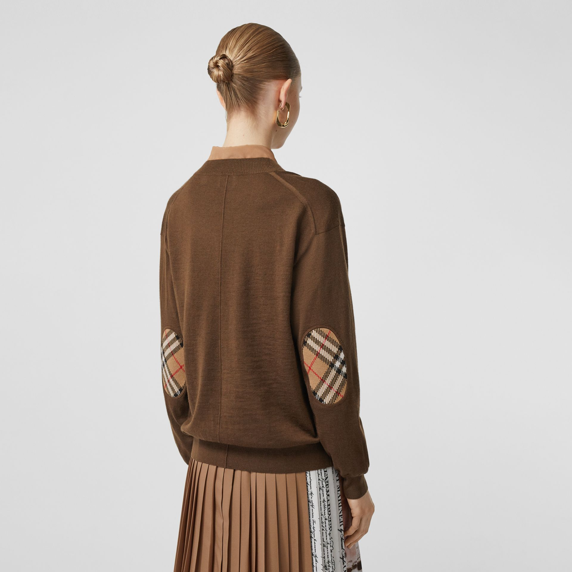Vintage Check Detail Merino Wool Cardigan in Bridle Brown - Women | Burberry - gallery image 4