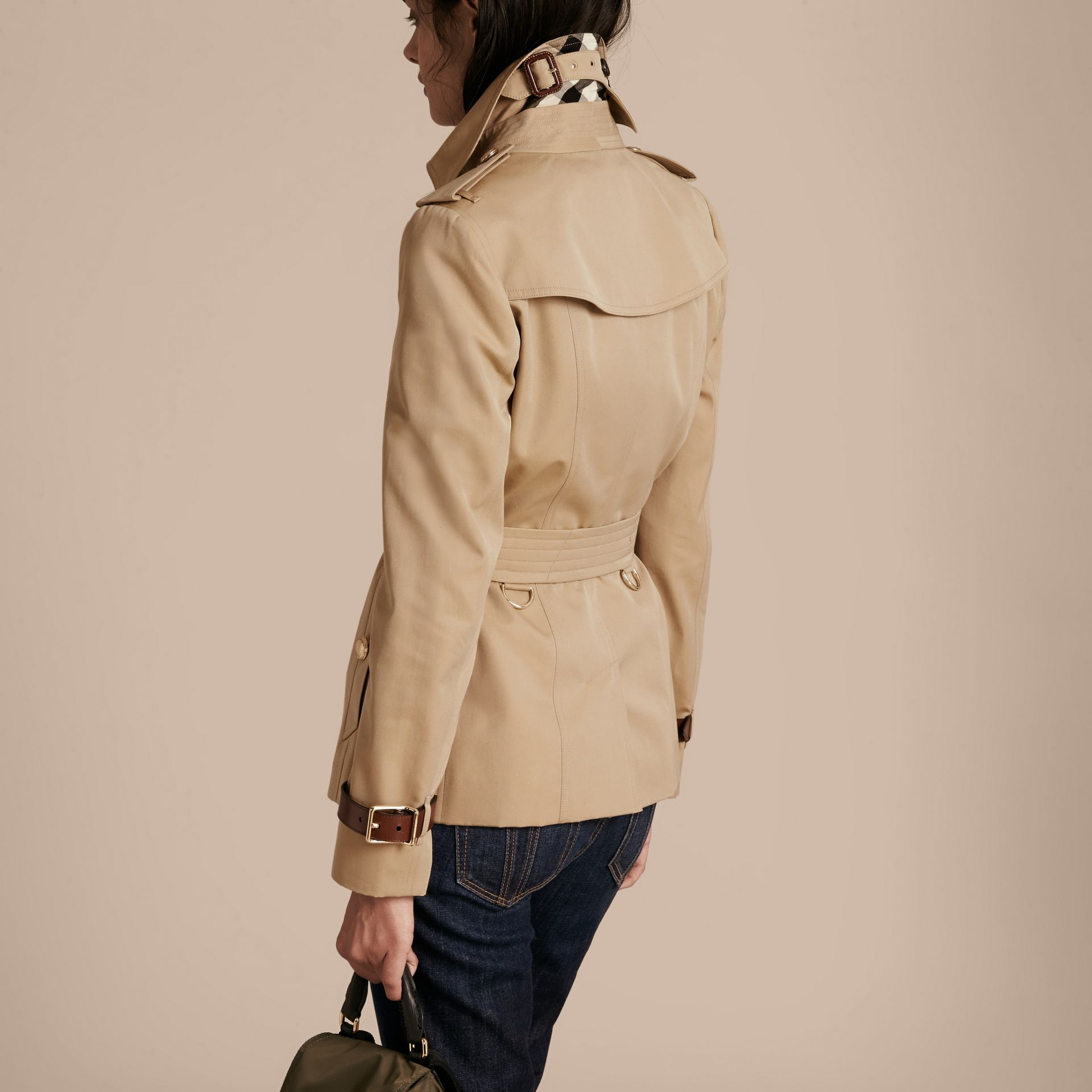 Honey Leather Detail Cotton Gabardine Trench Jacket - gallery image 3