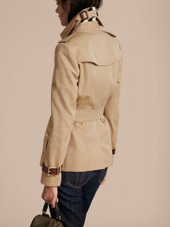 Honey Leather Detail Cotton Gabardine Trench Jacket - cell image 2