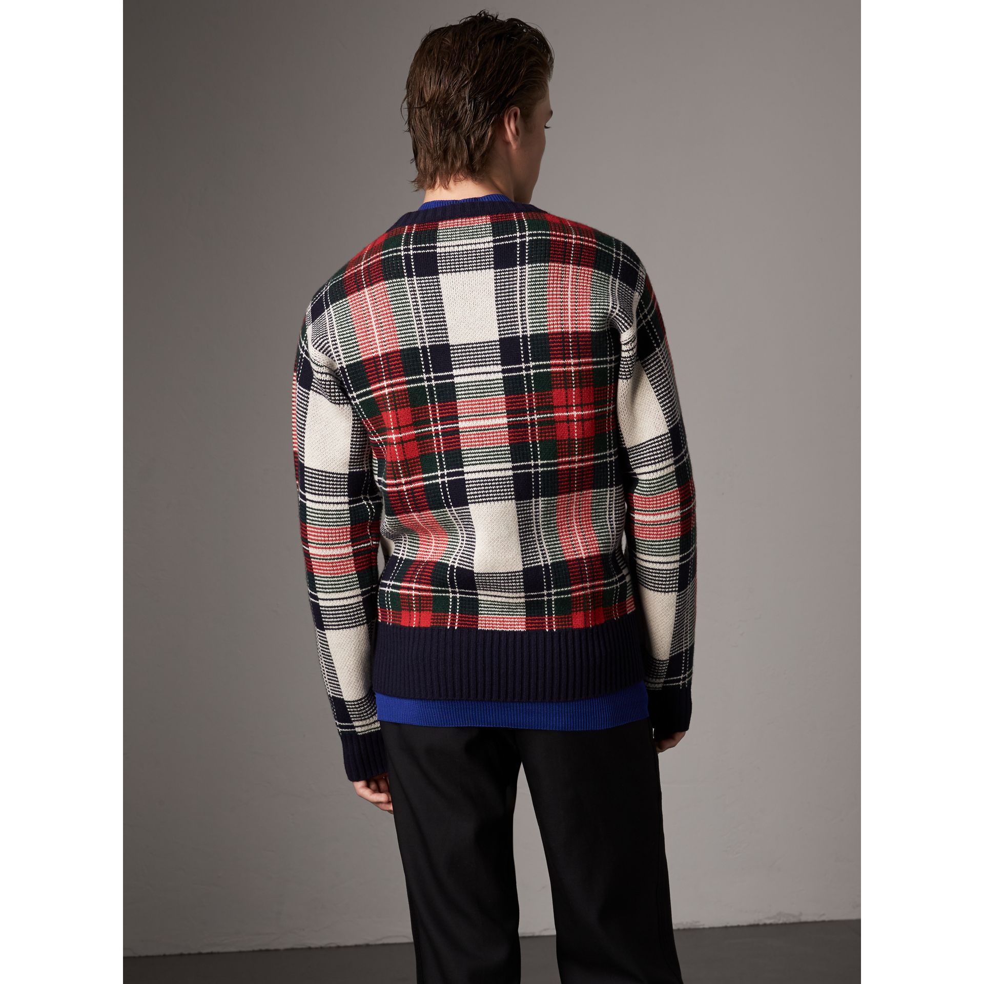 Tartan Cashmere Wool Sweater in Natural White - Men | Burberry - gallery image 3