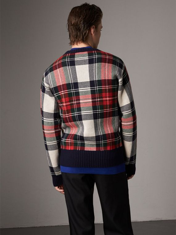 Tartan Cashmere Wool Sweater in Natural White - Men | Burberry Hong Kong - cell image 2