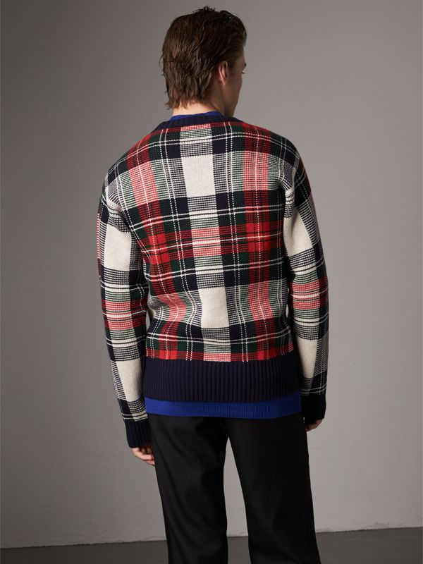 Tartan Cashmere Wool Sweater in Natural White - Men | Burberry - cell image 2